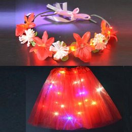 wholesale wreath wire NZ - Women Girl LED Party Light Up Wire Tutu Flower Led Headbands Wreath Garland Skirt Glow Party Christmas Halloween Navidad Wedding 3set 6pcs