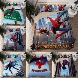 spiderman beds Australia - Bedding Comforter Set Cartoon 3D Superman Spiderman Twin Queen King Size 3 pcs Bedding set Polyester   Cotton For Boys Duvet Cover Bed Sheet