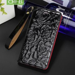 $enCountryForm.capitalKeyWord Australia - CKHB latest fashion bright patent leather camellia wallet style flip holster for iPhone X 8 7 Plus 6S Plus leather phone case