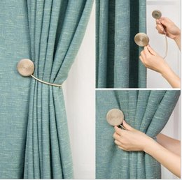 magnets curtains UK - Handmade curtain strap modern minimalist curtain hanging ball strap hook magnet curtain buckle rope strap creative