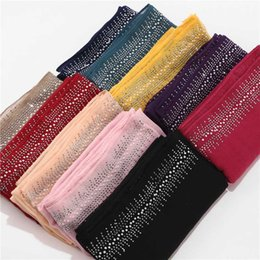 cotton viscose plain scarves NZ - 10pc lot Viscose Soft Cotton Scarf With diamond Women's Plain Pearls Hijab Scarf Female hijab shawl wrap Muslim Hijabs