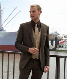 $enCountryForm.capitalKeyWord Australia - Classic Style Elegant Business Men Suits For Party Brown Tuxedos Groomsmen Men's Wedding Prom Suits (Jacket+Pants+Vest+Tie)