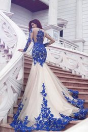 $enCountryForm.capitalKeyWord Australia - 2019 New Arrival Long Sleeve Royal Blue Lace Evening Dresses Mermaid Tulle Prom Gowns Formal Party Evening Gowns