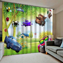 window double NZ - green cartoon curtains Customized size Luxury Blackout 3D Window Curtains For Living Room kids curtains