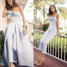 $enCountryForm.capitalKeyWord NZ - Elegant Women Jumpsuits Dresses Evening Party Wear With Detachable Train Light Blue Bow Strapless Satin Overskirt Strapless Long Prom Gowns