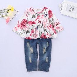 $enCountryForm.capitalKeyWord Australia - New Little Girl Deim Set Hot style Children's clothes Spring summer new product Rose top + denim suit
