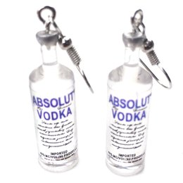 Wholesale Handmade Creative Cool Vodka Bottle Drop Earrings Funny Cartoon Transparent Drinking Bottle Dangle Earrings For Women Jewelry