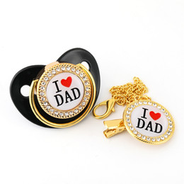 Wholesale Luxury Diamond Crystals Black Baby Pacifier Rhinestones Bling Bling Pacifier Chain Clip I love Mum Dad Dummy Soother Holder
