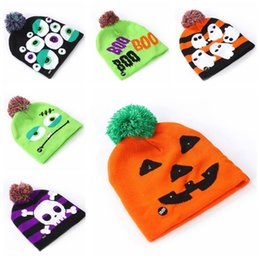 free crochet baby beanie NZ - Fashion Led Halloween Knitted Hats Kids Baby Winter Warm Beanies Crochet Caps Soft Pompon Ski Cap Party Hats TTA1534