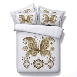 China Golden butterfly Digital print Bedding Set Quilt Cover Design Bed Set Bohemian a Mini Van Bedclothes 3pcs JF174 cheap quilt cover cartoon suppliers