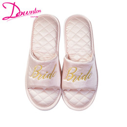 2a2e075e1 Embroidered brides Bridesmaid satin slippers wedding bridal shower party  gift maid of honor Newlywed Bachelorette party favors free shipping