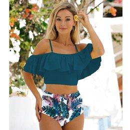 Wholesale plus size flounce swimwear online – High Waist Bikini New Print Swimwear Women Swimsuit Flounce Bikinis mujer Plus Size Bathing Suit Floral Beach Wear Biquini