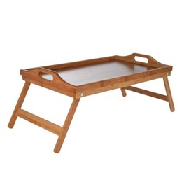laptop pad copper Canada - Natural Bamboo Breakfast Serving Tray with Handle Serving Breakfast in Bed or Use As a Tv Table Foldable Bed Table Laptop Desk