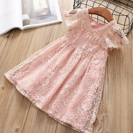 Korea style clothing online shopping - Korea Girls Lace dress V neck Flutter sleeve Princess dress Girls clothing China wholesaler Summer