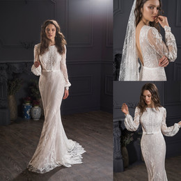 beaded bateau wedding dresses NZ - 2020 Bohemian Bridal Dresses Bateau Neck Appliqued Beaded Wedding Dress Long Sleeves Backless Bow Sweep Train Custom Made Robes De Mariée