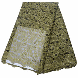 EmbroidErEd lacE yard online shopping - New Design Yards African Lace Fabric Embroidered Nigerian Laces Fabric Bridal High Quality French Tulle Lace Fabric For Women Dress HOT