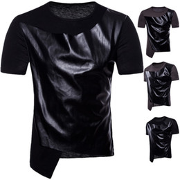 Mens Designer T Shitrs Spell Leather Cool O-neck Short Sleeve Hip Hop Style Summer New Fashion Shirts Men