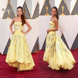 Strapless Sequin Red Dress Australia - Celebrity Dresses Yellow Strapless High Low Taffeta with Beads Sequins A Line Red Carpet Gowns Vestidos De Novia