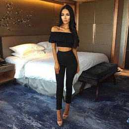 $enCountryForm.capitalKeyWord Australia - 2018 Women Yoga Set Sexy Ruffles Two Piece Outfits Crop Top And Long Pants 2 Piece Women Fitness Set Bodycon Suit Clothing