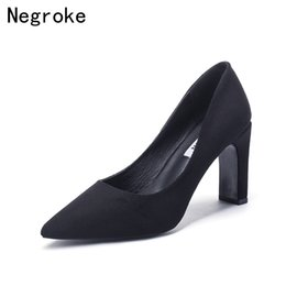 cbcf68c9a182 Dress Shoes 2019 Brand Design Women Pumps Top Quality Kid Suede High Heels  Ladies Dress Woman Pointed Toe Shallow Plus Size 43