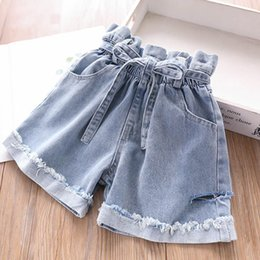 girl up short Australia - 2019 Summer Baby Girls Jeans Shorts Kids Broken Hole Lace Up Elastic Deinim Shorts Children Casual Short Jeans 4984