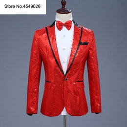 $enCountryForm.capitalKeyWord Australia - Sequin Men Suit Jacket Blazer With Bow Tie Red Costume Nightclub Singer Wedding Grooms Shiny Blazers
