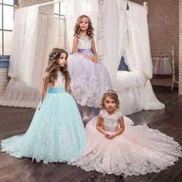 Elegant Longer Length Lace Dress Australia - 6-14 Years Kids Dresses For Girls Elegant Princess Wedding Lace Long Girl Dress Party Bridesmaids Formal Gown For Teen Girls J190506