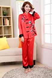 Wholesale- Pink Traditional Chinese Women Silk Pajamas Set Embroidery Pyjamas  Suit Home Wear Tang Suit Sleepwear Flower 2PCS M L XL WP002 ec8cdb387