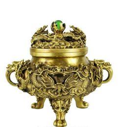 $enCountryForm.capitalKeyWord UK - NEW SCY Collectible bronze lion statue S0836 Chinese brass Copper Refined Myth Dragon Zodiac Bead incense burner censer B0403