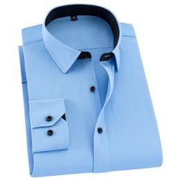 Plain Collar Shirts Australia - 2019 Patchwork Square Collar Long Sleeve Black Button Slim Fit Easy Care Quality Twill  plain Solid Business Men Dress Shirts