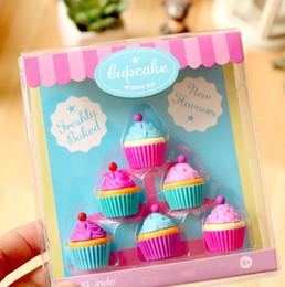 $enCountryForm.capitalKeyWord NZ - 6 Pcs set Kawaii Rubber Dessert Eraser Set For Kids Novelty Cake Set Stationery cute