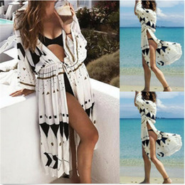 Discount sun protection suits - Summer Sun Protection Beach Dress Women Sarongs Beach Cover-Up Swimwear Seven Quarter Sleeve Tunics Bathing Suit Cover U