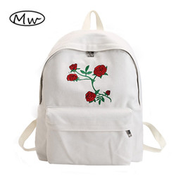Double Rose Black White Australia - Moon Wood Harajuku Rose Embroidery Backpack White Black Women Travel Backpack Students Canvas Double Shoulder Bag Mochila M627 #290599