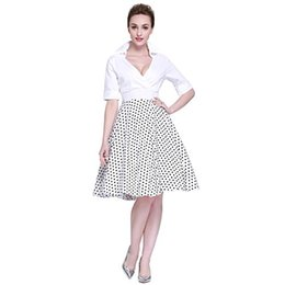Wholesale 1950s dresses resale online – Heroecol Vintage s s Dress Style Retro Rockabiily Cocktail Cross V Neck
