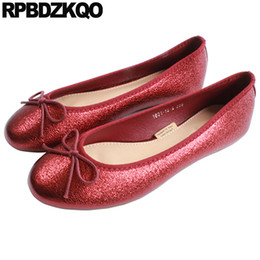 $enCountryForm.capitalKeyWord NZ - Ballerina Red Patent Leather Large Size Autumn Spring Bling Sequins Single Shoes Bow Ballet Dress Suede Glitter 41 Snake Flats
