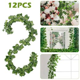 plastic green vines Canada - 12Pcs Artificial Ivy Leaf Plants Green Leaves Vine Fake Foliage Home Decor Plastic Rattan Evergreen Party Hotel Wedding Jungle