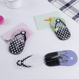 pedicure flip flops wholesale Australia - 5 Pcs Set Pedicure Tools Stainless Steel Earpick Tweezer Nail Clipper File Scissor Kit Nail Care Flip Flop Manicure Case JIU55