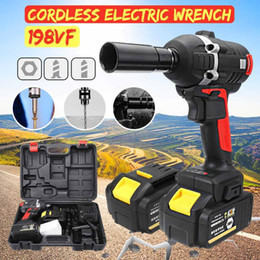 Discount brushless cars - 198VF 520N.M High Torque Cordless Brushless Electric Wrench Impact Socket Wrench Li-ion Battery Home Car Hand Drill Powe