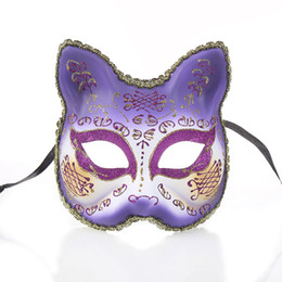 $enCountryForm.capitalKeyWord Australia - Women Venetian Masquerade Masks Cat Face Mask Halloween Costume Mardi Gras Party Ball Eye Mask 6 Colour Select
