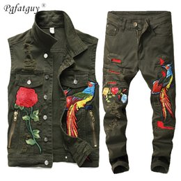 long sleeveless cardigan vest NZ - European Style Men's Army Green Loose Set Hip Hop 2 Pieces Embroidered Phoenix Flower Men Clothes Hole Ripped Denim Vests Pants T200520