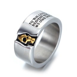 $enCountryForm.capitalKeyWord Australia - Domineering Golden Skull Head Jewelry 316L Stainless Steel Concave Carved Words Finger Rings US Size 8-14