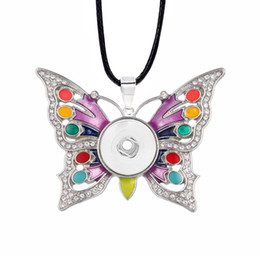 Wholesale Fashion Hot Sale Interchangeable Butterfly Crystal Ginger Necklace Fit mm Snap Button Pendant Charm Jewelry For Women Gift