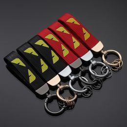 $enCountryForm.capitalKeyWord Australia - New Designer Cute Cartoon Keychain Metal Leather Key Ring Gift For Women Girls Men Bag Pendant Figure Charms Key Chains Jewelry Keyring