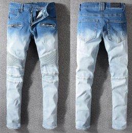 Mens Long Cotton Trousers Australia - 2019 Men's Biker Skinny STRETCH WASHED Jeans blue Blue denim jeans mens Denim Cotton Jeans Pants long trousers Size 28-40