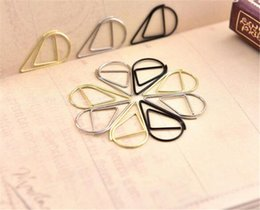 $enCountryForm.capitalKeyWord NZ - New Office 50 pcs Metal Material Drop Shape Paper Clips Gold Silver Color Funny Kawaii Bookmark Office Shool Stationery Marking Clips