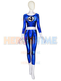 Halloween Costumes Super Woman Australia - Invisible Woman Costume Fantastic Four anime Costume Female Woman Lady Blue Spandex Lycra Halloween Party Superhero Costume