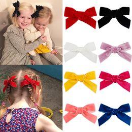 "$enCountryForm.capitalKeyWord Australia - 3"" Velvet Hair Bows For Girls Solid Knot Hair Clips Baby Mini Hairpins Handmade Elegant Fashion Headwear Kids Hair Accessories"