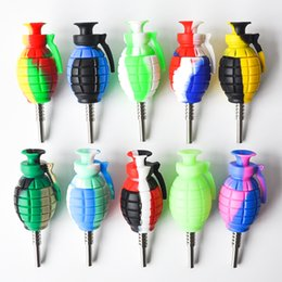 $enCountryForm.capitalKeyWord NZ - Muliti Color Grenade Silicone Nectar Collector 14mm Joint with GR2 Titanium Nails Silicone Caps Oil Rigs Free Shipping