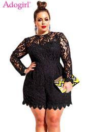 $enCountryForm.capitalKeyWord Australia - Adogirl Plus Size L-6xl Women Lace Romper Solid Hollow Out Long Sleeve Jumpsuits Sexy Shorts Playsuit Ladies Clubwear Bodysuits Y19060501
