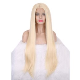 China Top Synthetic Lace Front Blonde Wigs Half Hand Tied for White Women Heat Resistant Fiber Hair Silk Straight Wig 24 Inches Natural Hairline cheap blonde half wigs suppliers